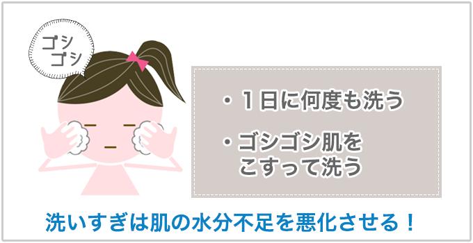肌を乾燥させる洗顔