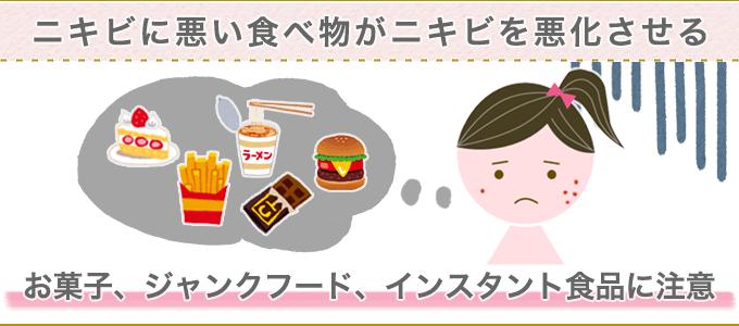 ニキビに悪い食べ物がニキビを悪化