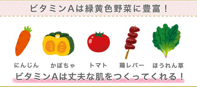 ビタミンAは緑黄色野菜に豊富