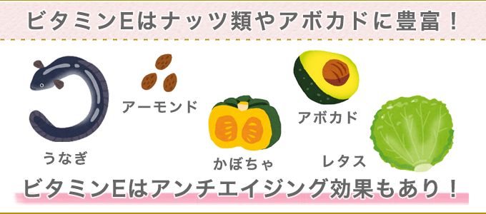 ビタミンEはナッツ類やアボカドに豊富