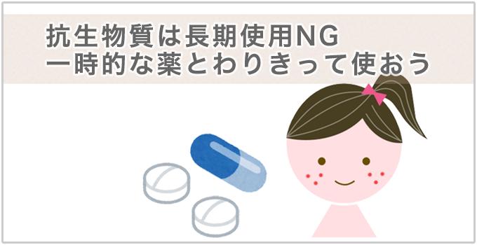 抗生物質は長期の使用NG。一時的な薬として使う。