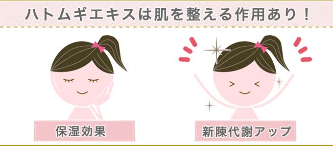 ハトムギエキスの肌を整える効果