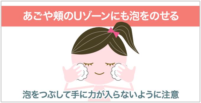洗顔方法 Uゾーン