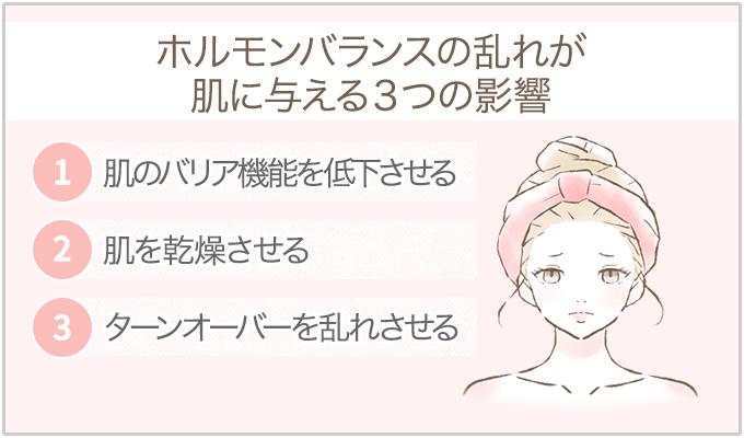 ホルモンバランスの乱れによる肌への影響3つ