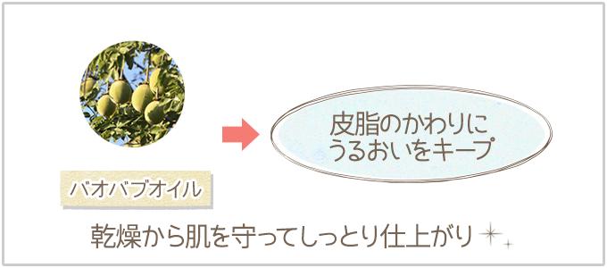 バオバブオイルがしっとり仕上げて乾燥を防ぐ