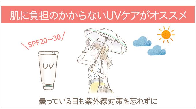 肌に負担のかからないUVケア(日焼け止めSPEF20~30、日傘)がおすすめ