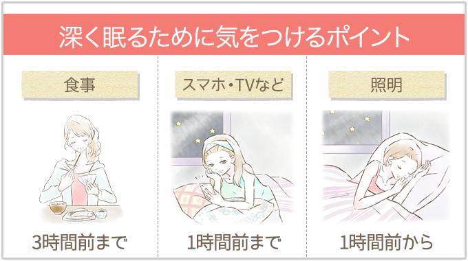 深く眠るために気を付けるポイント(食事・スマホ・照明)