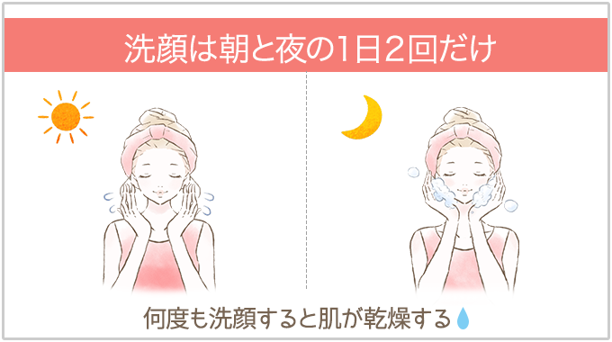 洗顔は朝と夜の1日2回だけ