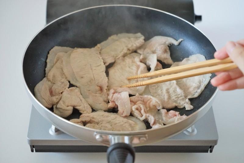 豚肉とトマトの蒸し焼き・みょうがソース 豚肉焼き