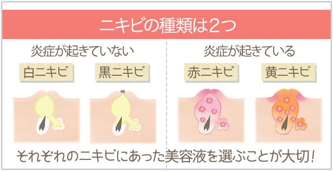 ニキビの種類(白・黒・赤・黄)にあわせて美容液を選ぶ)